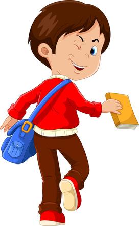 Junge mit einer Umhängetasche